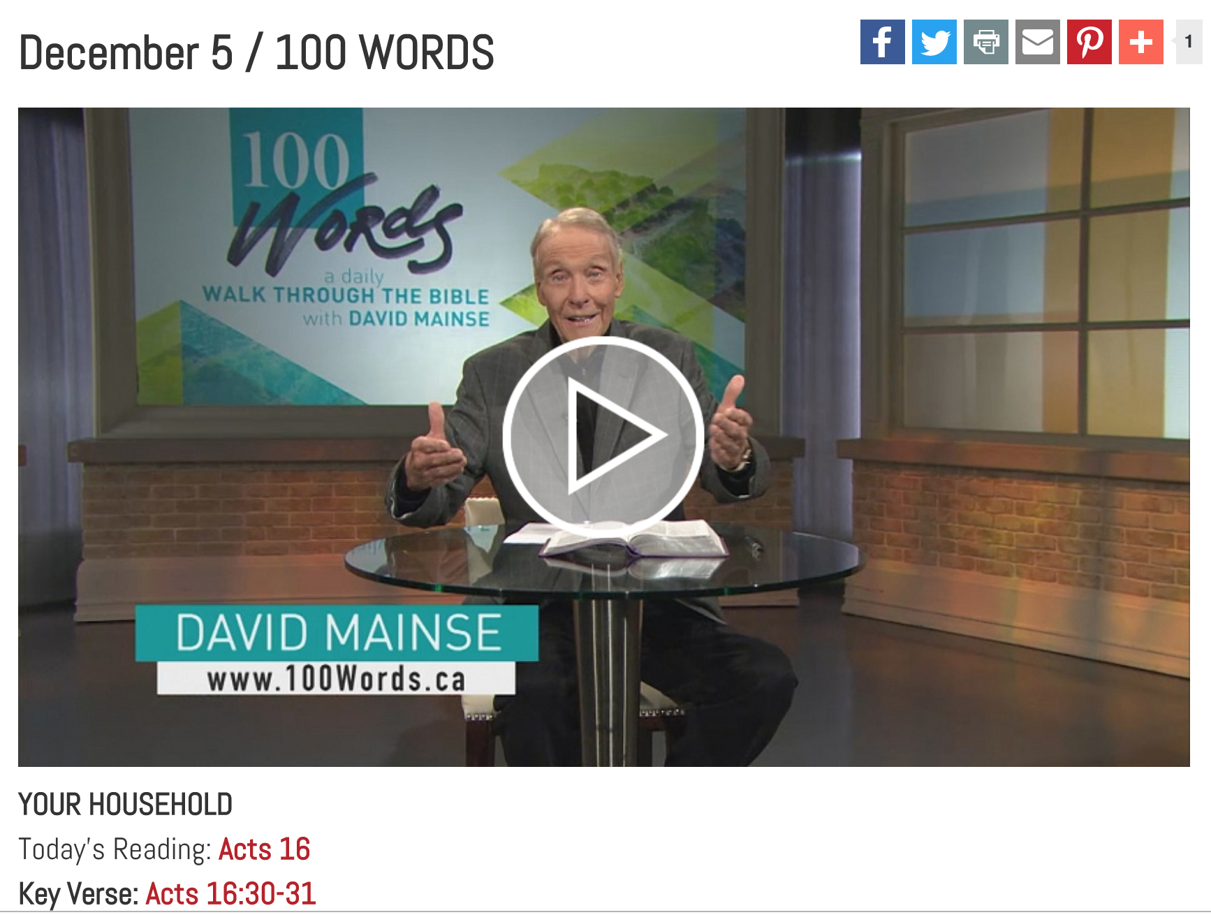 david mainse 100 words blog